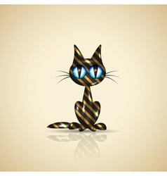 Golden present cat for your design vector image