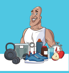 healthy man life style sport vector image