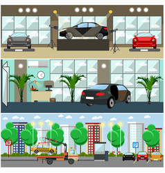 Set of cars concept posters banners in vector