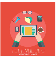 technology application maker hand holding tablet b vector image