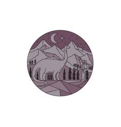 astronaut brontosaurus mountain moon circle mono vector image vector image