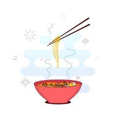 Bowl of noodles vector image