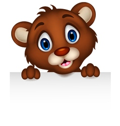 cute little brown bear cartoon with blank sign vector image vector image