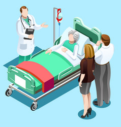doctor talking with old patient family isometric vector image vector image