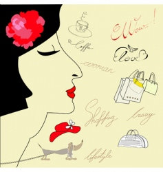 doodle of woman's face vector image vector image