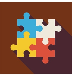 Flat Puzzle with long Shadow vector image
