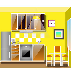 modern kitchen interior with furniture vector image vector image