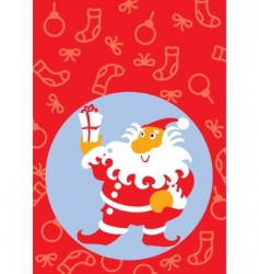 santa claus with a gift vector image vector image