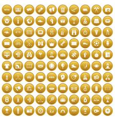 100 sport journalist icons set gold vector