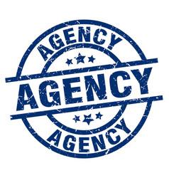 Agency blue round grunge stamp vector