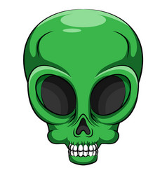 Alien green head creature from another world vector