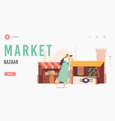 Arabic bazaar landing page template tourists vector
