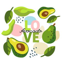 background with avocado with text love vector image