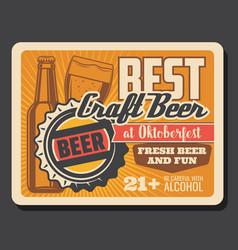 beer glass and bottle lager or ale oktoberfest vector image