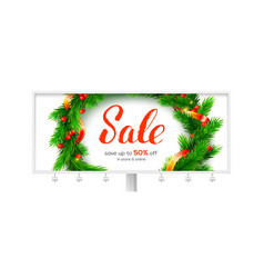 billboard for winter sale events up to 50 percent vector image