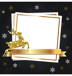 Black christmas background with golden deer vector