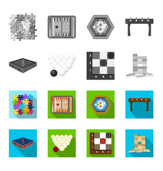 board game monochromeflat icons in set collection vector image