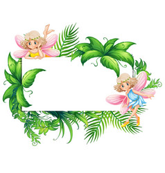 Border template with two fairies in garden vector