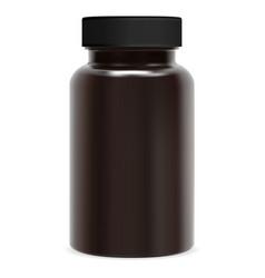 brown supplement bottle plastic pill package jar vector image