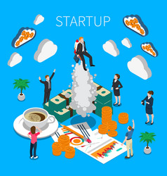 business startup isometric composition vector image
