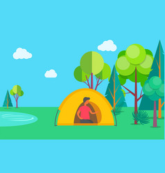 camping on nature person in tent lake and trees vector image