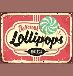 candy store retro sign design vector image