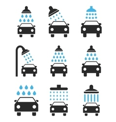 Car Shower Icon Set vector image