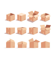 carton boxes isometric 3d set vector image