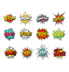 Cartoon comic sign burst clouds speech bubble vector