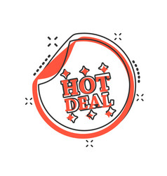 cartoon hot deal shopping icon in comic style hot vector image