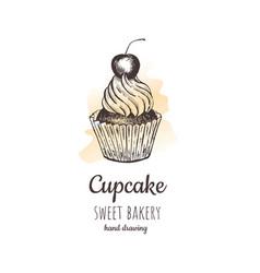 cherry cupcake cupcake vector image