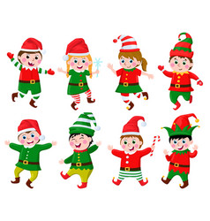 children in elf costumes funny kids wearing santa vector image