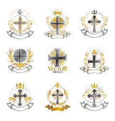 christian crosses emblems set heraldic coat of vector image