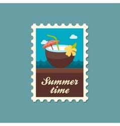 Coconut Drink with Straw stamp Summer Vacation vector