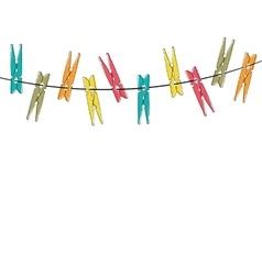 Colorful cartoon clothespins vector image