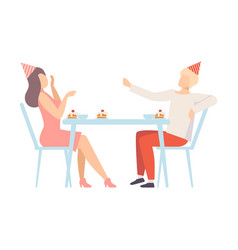Couple in holiday clothes talking eating desserts vector