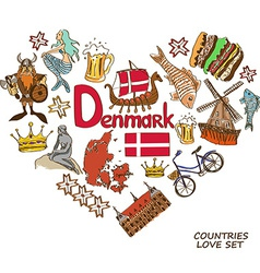 Danish symbols in heart shape concept vector image