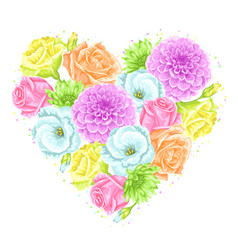 Decorative heart with delicate flowers object for vector