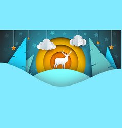 deer cartoon winter landscape vector image
