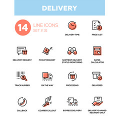 Delivery - modern single line icons set vector