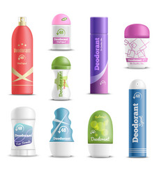 Deodorants spray sticks realistic set vector