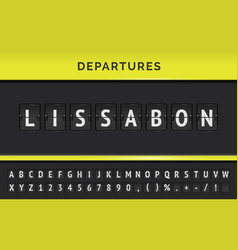 Departure flip board with destination vector