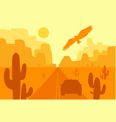 Desert landscape with eagle cactus and sun vector