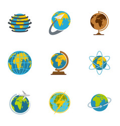 Earth icons set flat style vector