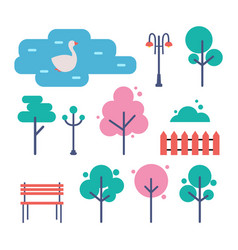 empty park with trees bench and street light set vector image