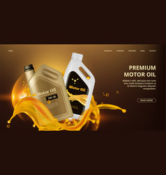 Engine oil landing page motor oil web page vector