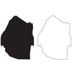 Eswatini country map black silhouette and outline vector