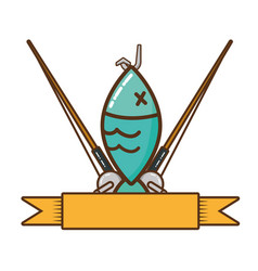 fishing rod isolated icon vector image