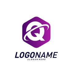 Font with planet logo design concepts letter q vector