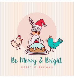 fun christmas animal cartoon holiday greeting card vector image